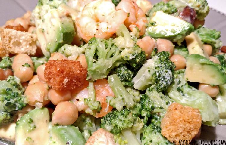 Broccoli, avocado, shrimp and chickpea Salad